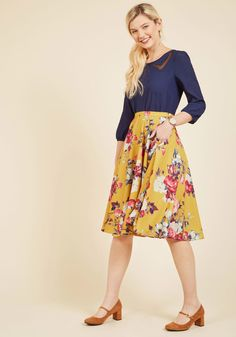 Ikebana for All A-Line Skirt in Saffron Floral. Shape, line, and form unfold fashionably as you drift past delicate flower displays in this smooth, mustard A-line skirt - a ModCloth exclusive! Modest Dresses, Modest Outfits, Modest Fashion, Plus Size Dresses, Cute Outfits, Apostolic Fashion, Modest Clothing, Summer Clothing, Work Outfits