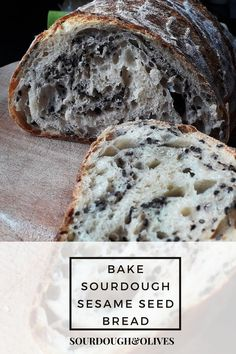 This sourdough sesame seed bread has a beautiful crumb with black sesame seeds on the inside and a tasty crust with white seeds on top. All You Need Is, Seed Bread, Black Sesame, Sourdough Bread, Bread Recipes, Tasty, Baking, Olives, Seeds