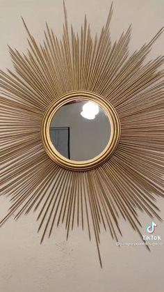 Diy Room Decor Videos, Diy Crafts For Home Decor, Diy Crafts Hacks, Handmade Home Decor, Diy Wall Art, Diy Wall Decor, Diy Mirror Decor, Mirror Crafts, Ideias Diy
