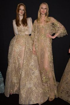 View all the photos from backstage at the Elie Saab haute couture fall 2015 showing at Paris fashion week.  Read the article to see the full gallery.