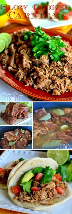 Muy Bueno Slow Cooker Carnitas - Enjoy the delicious flavors of carnitas straight from your slow cooker! Muy Bueno! | MomOnTimeout.com