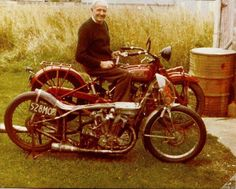 """Burt Munro sitting on what his """"World's fastest Indian"""" started life as, a '20 Indian scout & of coarse his famous bike in front."""