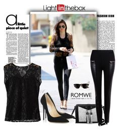 """""""ROMWE"""" by eemiinaa ❤ liked on Polyvore featuring Carianne Moore, Jimmy Choo, Ray-Ban, women's clothing, women, female, woman, misses and juniors"""