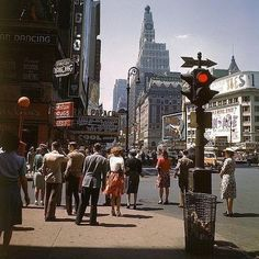 Times Square, looking south on Broadway from Street, New York, summer Photographed by Andreas Feininger/LIFE. New York City Pictures, New York Photos, New York Architecture, Vintage New York, Modern History, City Streets, Street Photography, Times Square, Nyc