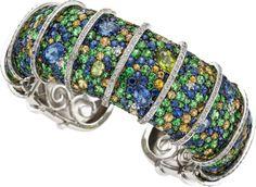 Estate Jewelry:Bracelets, Sapphire, Peridot, Diamond, White Gold Bracelet. ... ht