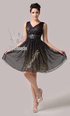 Kısa abiye elbise siyah altın