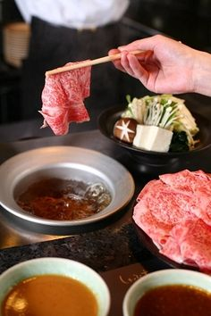 Shabu Shabu is a very well-known Japanese hot pot. Basically, thinly sliced meat (beef or pork, sometimes fish) and other ingredients are cooked in a skillet at the table.|しゃぶしゃぶ