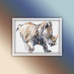 Rhino Cross Stitch Pattern 7 Instant PDF Download - Rhinoceros Watercolor Cross Stitch Pattern - White Rhino Cross Stitch Pattern Watercolor Horse, Watercolor Pattern, Hedgehog Cross Stitch, Booby Bird, Blue Footed Booby, Star Stitch, Cool Writing, Rhinoceros, Extra Fabric