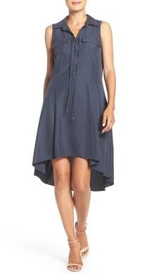 ECI Lace Up Neck High/Low Shirtdress