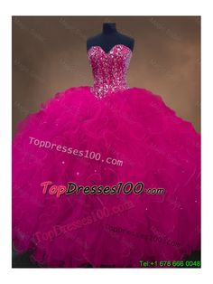 Luxurious Sweetheart Beaded Quinceanera Dresses in Hot Pink - US$297.46