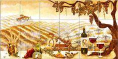 kitchen tile backsplashes, a vineyard and wine bottles and glasses