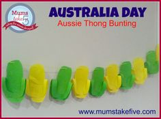 Australia Day Thong/Flip Flop Bunting Would be great for a Pool/Beach party too Pool Party Decorations, Party Themes, Party Ideas, Childcare Activities, Toddler Activities, Summer Crafts, Crafts For Kids, Australia Day, Play To Learn