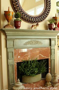 Annie Sloan Chalk Painted Mantle Paint Fireplace, Faux Fireplace, Fireplace Surrounds, Fireplace Ideas, Fireplace Makeovers, Mantle Ideas, Simple Fireplace, Stone Fireplaces, Painted Mantle