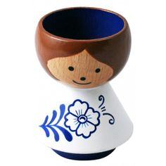 Girl In Blue Flowers Bordfolk Danish Eggcup - Lucie Kaas
