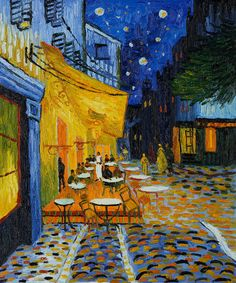 """""""Cafe Terrace at Night"""" is another magnificent piece by Vincent van Gogh to round out your room with accents of #SodaliteBlue. #springdecor #art"""