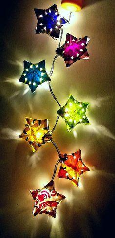 Items similar to Paper Star Lantern String Lights; Cool on Etsy Paper Star Lanterns, Lantern String Lights, Boho Lighting, Thing 1, Wine And Liquor, Paper Stars, Bottle Lights, Yoga Meditation, Bohemian Decor