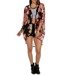 Black/Floral Chiffon Kimono- perfect with black tank and leggings!