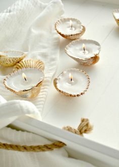 Little candles on shells
