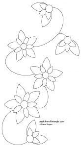 This is a hand embroidery patternfor a floral border suitable for beginners to hand embroidery for readers of Pintangle
