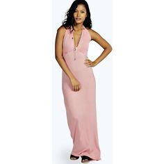 Boohoo Night Elizabeth Plaited Detail Maxi Dress ($10) ❤ liked on Polyvore featuring dresses, dusky pink, halter neck maxi dress, bohemian dress, maxi dress, boho maxi dress and pink halter top