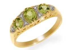 Bague Femme - Or jaune (9 cts) 3.08 Gr - Peridot - Diamant 0.965 Cts - T 50