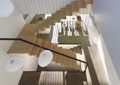 Interior shot of a house designed to function like a bridge.