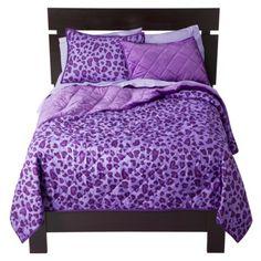 Xhilaration® Reversible Heart Leopard Quilt - Purple.