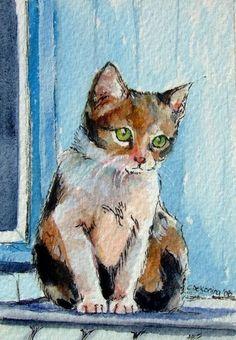 Astrid  ACEO fine art kitten print by christydekoning on Etsy