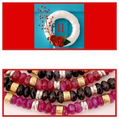 Dazzling Iolite,pink moonstone and ruby jewellery with rolled gold beads Ruby Jewelry, Jewellery, Pink Moonstone, Advent Calenders, Gold Beads, Four Square, Beaded Bracelets, Jewels, Schmuck