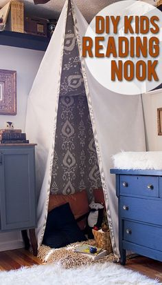 DIY/Sew it yourself reading nook. I like this one as its not a teepee but suspended from the ceiling and walls.
