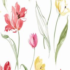 Red and Pink Tulip Toss Floral