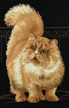 Cute Cat Sepia Portrait Cross Stitch Chart B