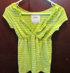 Abercrombie V Neck Shirt Green Stripped Sz Large Kids | eBay