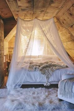 canopied cozy bed space with lights ♥