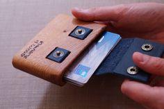 Wood Wallet Oak Trou Leather Strap by INtheNAMEofWOOD on Etsy