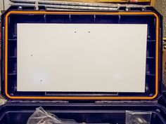 Whiteboard in position. Holes are for mounting speaker and radio faceplate. Ham Radio Kits, Tool Box On Wheels, Go Kit, John Wright, Whiteboard, Emergency Preparedness, Radios, Building, Specs
