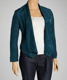 Take a look at this Teal Jacket - Plus by JLov on #zulily today!