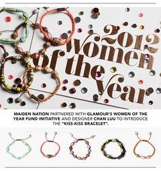 """a.Designer Chan Luu and Maiden Nation present the GLAMOUR """"Kiss-Kiss Bracelet""""; produced by Haitian women working to change their lives in the ongoing aftermath of the 2010 earthquake, it's named for the signature Haitian greeting between friends - a peck on each cheek."""
