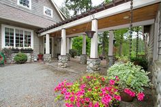 """A breezeway for a detached garage! -""""Trimmed in pine tongue and groove and bold river rock accented pillars the breezeway leads from the home to the detached 3 car garage. Detached Garage Designs, Design Garage, Carport Designs, Roof Design, Plan Garage, Carport Garage, Garage House, Garage Ideas, Carport Plans"""