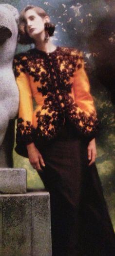 Jean-Louis Scherrer Haute Couture A/W Yellow Taroni silk satin jacket with black Lesage embroidery over a long black silk satin skirt with a train. Parisienne Chic, Jean Louis Scherrer, Dior, Lesage, Satin Jackets, Satin Skirt, Black Silk, Fashion History, Silk Satin