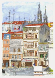 Urban Sketchers Spain. El mundo dibujo a dibujo.: Betanzos (III) Otoño para disfrutar Watercolor Sketch, Watercolor Background, Watercolor Paintings, Pen And Wash, Watercolor Architecture, Amazing Drawings, Urban Sketchers, Drawing Sketches, Sketching