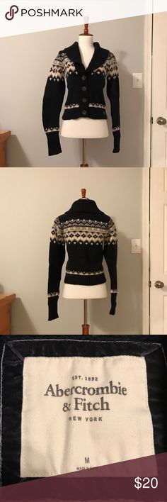 ABERCROMBIE FAIR ISLE SWEATER Pre-loved button-up navy fair isle.  In great condition.  Runs a bit small, I'd say true size small. Abercrombie & Fitch Sweaters Cardigans