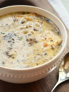Cream of Mushroom Soup with Buttered Crackers