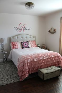 Ruffled comforter in this great #biggirlroom