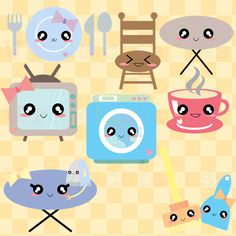 Appliances Clip Art - Kawaii Clipart, Chibi, House Clipart, Washing Machine, TV, Iron, Planner, Coffee Cup, Free Commercial and Personal Use