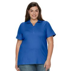 Plus Size Croft & Barrow® Pique Polo, Women's, Size: 1XL, Dark Blue