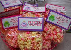 Pink Princess Popcorn  Princess Party Favors  Set of 12 by Swankk, $30.00  Wouldn't buy it but I bet it could be made fairly easy and for a fraction of the cost.