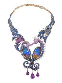 "Lydia Courteille ""Deep Sea"" Necklas. Black rodium gold, brown diamonds, sapphires and amethysts."