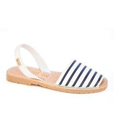 Loving this White & Navy Stripe Leather Sandal - Women on #zulily! #zulilyfinds