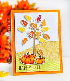 Lawn Fawn - Sweater Weather + coordinating dies, So Thankful + coordinating dies, Stitched Hillside Borders, Stitched Rectangles Stackables _ beautiful card to welcome Fall by Kay M via Flickr - Photo Sharing!
